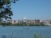 Downtown Madison condos with skyline and canoeist