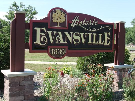Evansville WI sign