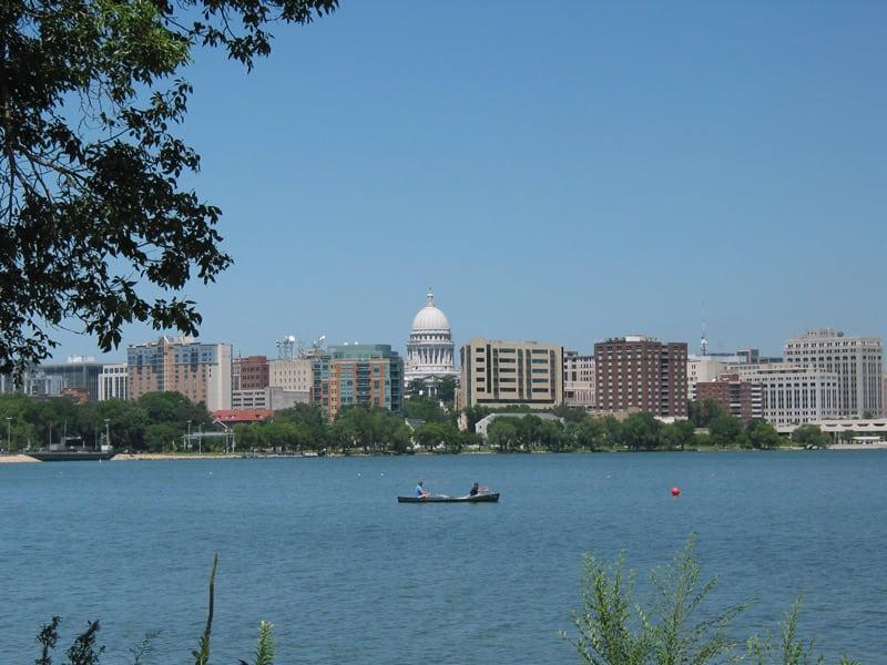 Madison skyline with canoe