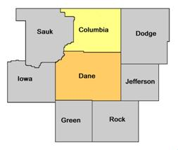 Columbia County WI map