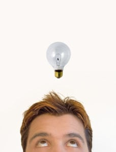 Got-the-idea man with light bulb going on