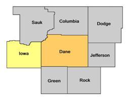 Iowa County WI map