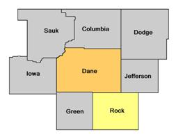 Rock County WI map