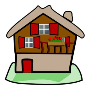 brown home with red shutters cartoon