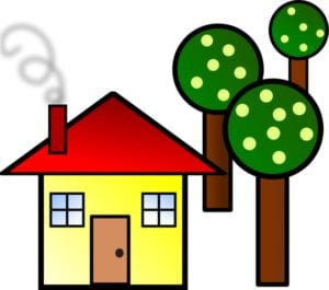 cartoon house with trees