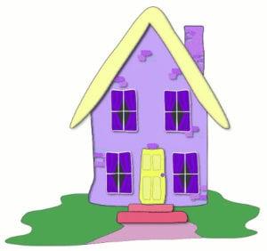 cartoon lilac colored house