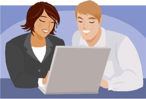working-together-on computer