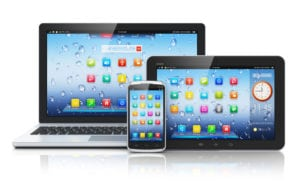laptop, tablet and mobile phone